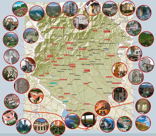 Mappa dei siti museali della Rete Museale Biellese